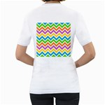 Chevron Pattern Design Texture Women s T-Shirt (White) (Two Sided) Back