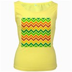 Chevron Pattern Design Texture Women s Yellow Tank Top Front