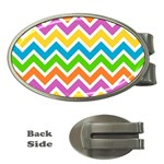 Chevron Pattern Design Texture Money Clips (Oval)  Front