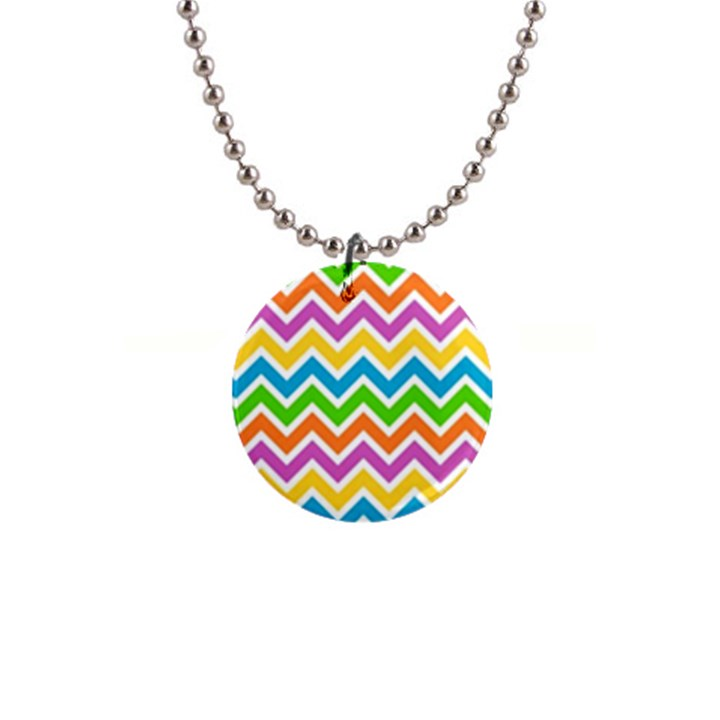 Chevron Pattern Design Texture 1  Button Necklace