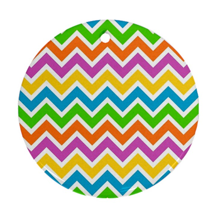 Chevron Pattern Design Texture Round Ornament (Two Sides)