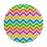 Chevron Pattern Design Texture Round Ornament (Two Sides) Back