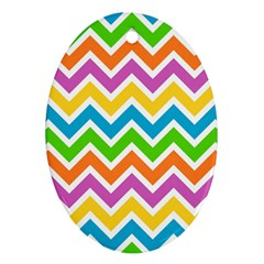 Chevron Pattern Design Texture Oval Ornament (two Sides)