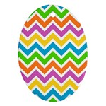 Chevron Pattern Design Texture Oval Ornament (Two Sides) Back