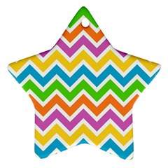 Chevron Pattern Design Texture Star Ornament (two Sides) by Sapixe