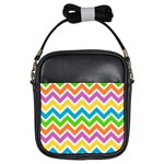 Chevron Pattern Design Texture Girls Sling Bag Front
