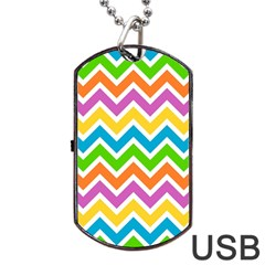 Chevron Pattern Design Texture Dog Tag Usb Flash (two Sides) by Sapixe