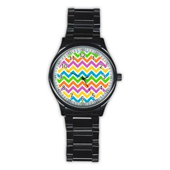 Chevron Pattern Design Texture Stainless Steel Round Watch