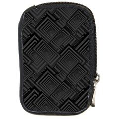 Diagonal Square Black Background Compact Camera Leather Case
