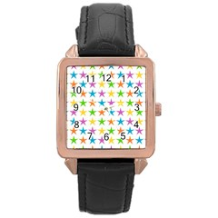 Star Pattern Design Decoration Rose Gold Leather Watch
