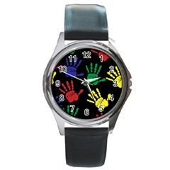 Handprints Hand Print Colourful Round Metal Watch by Sapixe