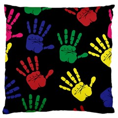 Handprints Hand Print Colourful Standard Flano Cushion Case (two Sides)