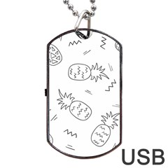 Doodle Pineapples Dog Tag Usb Flash (two Sides) by goljakoff