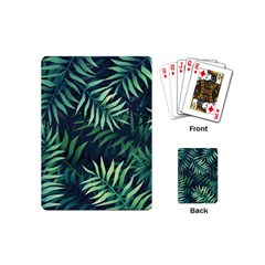 Night Tropical Leaves Playing Cards (mini) by goljakoff