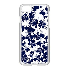 Navy & White Floral Design Iphone 8 Seamless Case (white) by WensdaiAmbrose