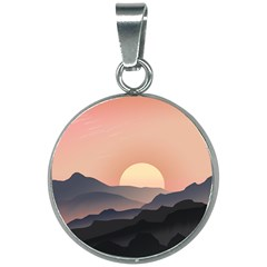 Sunset Sky Sun Graphics 20mm Round Necklace