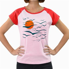 Sunset Glow Sun Birds Flying Women s Cap Sleeve T-shirt
