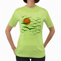 Sunset Glow Sun Birds Flying Women s Green T-shirt