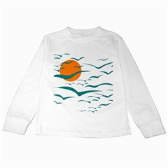 Sunset Glow Sun Birds Flying Kids Long Sleeve T Shirts by HermanTelo