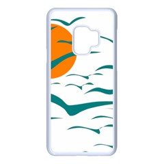 Sunset Glow Sun Birds Flying Samsung Galaxy S9 Seamless Case(white)