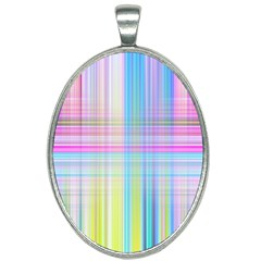 Texture Abstract Squqre Chevron Oval Necklace