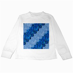 Texture Surface Blue Shapes Kids Long Sleeve T Shirts by HermanTelo