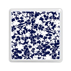 Navy & White Floral Design Memory Card Reader (square) by WensdaiAddamns