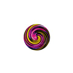 Swirl Vortex Motion Pink Yellow 1  Mini Magnets