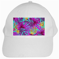Tropical Greens Pink Leaves White Cap by HermanTelo