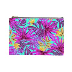 Tropical Greens Pink Leaves Cosmetic Bag (large)