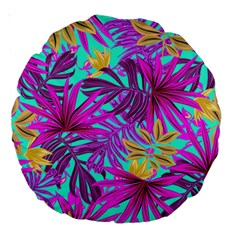 Tropical Greens Pink Leaves Large 18  Premium Round Cushions by HermanTelo