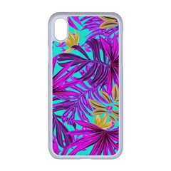 Tropical Greens Pink Leaves Iphone Xr Seamless Case (white)