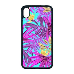 Tropical Greens Pink Leaves Iphone Xr Seamless Case (black)