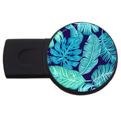 Tropical Greens Leaves Banana Usb Flash Drive Round (4 Gb) by HermanTelo