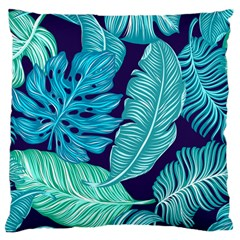 Tropical Greens Leaves Banana Large Cushion Case (one Side) by HermanTelo