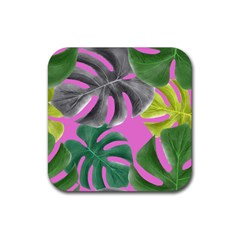 Tropical Greens Pink Leaf Rubber Coaster (square)  by HermanTelo