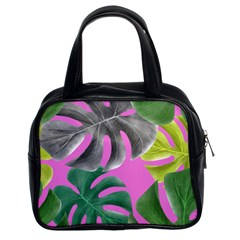 Tropical Greens Pink Leaf Classic Handbag (two Sides) by HermanTelo