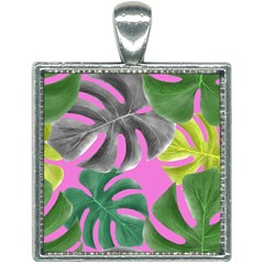 Tropical Greens Pink Leaf Square Necklace by HermanTelo