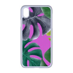 Tropical Greens Pink Leaf Iphone Xr Seamless Case (white)