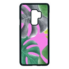Tropical Greens Pink Leaf Samsung Galaxy S9 Plus Seamless Case(black) by HermanTelo
