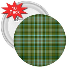 Vintage Green Plaid 3  Buttons (10 Pack)