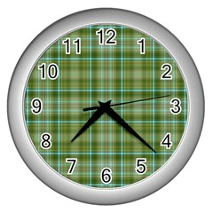 Vintage Green Plaid Wall Clock (silver)