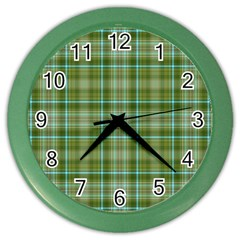 Vintage Green Plaid Color Wall Clock