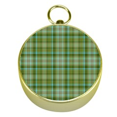 Vintage Green Plaid Gold Compasses
