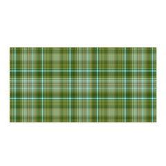 Vintage Green Plaid Satin Wrap