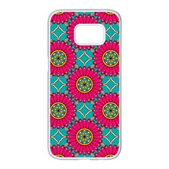 Modern Mandala Design Samsung Galaxy S7 Edge White Seamless Case by tarastyle