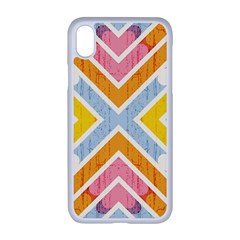 Line Pattern Cross Print Repeat Iphone Xr Seamless Case (white)
