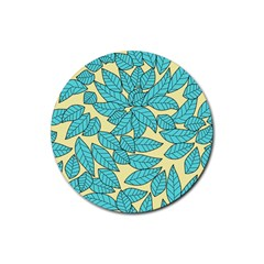 Leaves Dried Rubber Round Coaster (4 Pack)