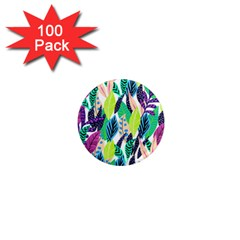 Leaves Rainbow Pattern Nature 1  Mini Magnets (100 Pack)