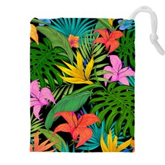 Tropical Greens Leaves Drawstring Pouch (xxxl) by Alisyart